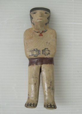 Nazca. <em>Figurine</em>, circa 650 C.E. Ceramic, polychrome slip, 7 1/16 × 2 1/4 × 1 5/16 in. (17.9 × 5.7 × 3.3 cm). Brooklyn Museum, Gift of Cynthia Hazen Polsky, 79.116.1. Creative Commons-BY (Photo: Brooklyn Museum, CUR.79.116.1_view01.jpg)