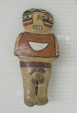 Nazca. <em>Figurine</em>, circa 650 C.E. Ceramic, polychrome slip, 5 × 2 1/4 × 1 1/2 in. (12.7 × 5.7 × 3.8 cm). Brooklyn Museum, Gift of Cynthia Hazen Polsky, 79.116.2. Creative Commons-BY (Photo: Brooklyn Museum, CUR.79.116.2_view01.jpg)