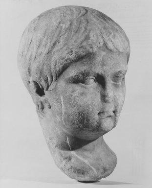 Roman. <em>Nero (?)</em>, 30 B.C.E.-50 C.E. Marble, 10 5/8 × 6 13/16 × 7 1/8 in. (27 × 17.3 × 18.1 cm). Brooklyn Museum, Gift of Julius J. Ivanitsky in memory of his parents, Jacob and Ida Ivanitsky, 79.119.1. Creative Commons-BY (Photo: Brooklyn Museum, CUR.79.119.1_NegF_print_bw.jpg)