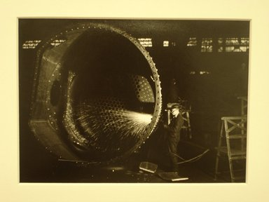 Lewis Wickes Hine (American, 1874-1940). <em>[Untitled] (Welder by Large Cylinder)</em>, 1936-1937. Gelatin silver photograph, 5 x 7 in.  (12.7 x 17.8 cm). Brooklyn Museum, Gift of The National Archives, 79.143.146 (Photo: Brooklyn Museum, CUR.79.143.146.jpg)