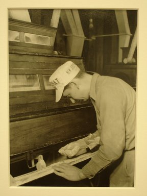 Lewis Wickes Hine (American, 1874-1940). <em>[Untitled] ( Man at Flour Sifter)</em>, 1936-1937. Gelatin silver photograph, 7 1/4 x 4 3/4 in. (18.4 x 12.1 cm). Brooklyn Museum, Gift of the National Archives, 79.143.32 (Photo: Brooklyn Museum, CUR.79.143.32.jpg)
