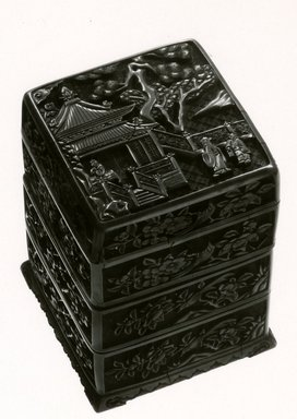 <em>Stacked Boxes</em>, 1368-1644. Carved cinnabar lacquer, Overall: 5 1/4 x 3 1/2 x 3 1/2 in. (13.3 x 8.9 x 8.9 cm). Brooklyn Museum, Gift of Dr.Myron Arlen, 79.248.2. Creative Commons-BY (Photo: Brooklyn Museum, CUR.79.248.2a-d_bw.jpg)