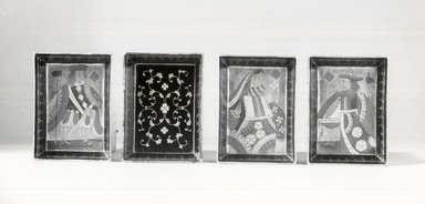 <em>Set of Four Side Dishes</em>, 18th century. Black lacquer on wood, painted, 7/8 x 3 1/2 x 4 7/8 in. (2.2 x 8.9 x 12.4 cm). Brooklyn Museum, Gift of Stanley J. Love, 79.272.4. Creative Commons-BY (Photo: Brooklyn Museum, CUR.79.272.4a-d_group_bw.jpg)