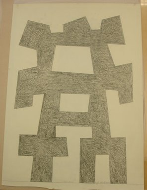 "Douglas Abdell (American, born 1947). <em>Drawing for the Sculpture ""Pnauxae - Aekyad,""</em> 1977. Graphite, sheet: 45 1/4 x 32 in. (114.9 x 81.3 cm). Brooklyn Museum, Gift of Andrew Crispo, 79.42. © artist or artist's estate (Photo: Brooklyn Museum, CUR.79.42.jpg)"