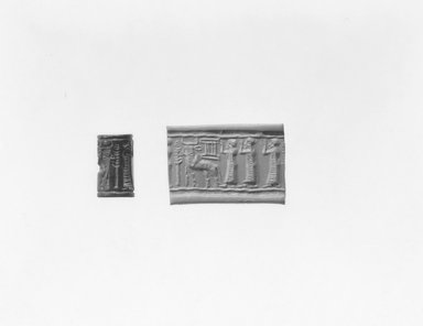 Ancient Near Eastern. <em>Cylinder Seal</em>, 2000-1700 B.C.E. Hematite (?), 3/4 x Diam. 7/16 in. (1.8 x 1.1 cm). Brooklyn Museum, Gift of Mr. and Mrs. Carl L. Selden, 80.173.2. Creative Commons-BY (Photo: Brooklyn Museum, CUR.80.173.2_NegA_print_bw.jpg)