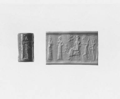 Ancient Near Eastern. <em>Cylinder Seal</em>, ca. 1800-1600 B.C.E. Stone, 1 1/8 x Diam. 11/16 in. (2.9 x 1.7 cm). Brooklyn Museum, Gift of Mr. and Mrs. Carl L. Selden, 80.173.4. Creative Commons-BY (Photo: Brooklyn Museum, CUR.80.173.4_NegA_print_bw.jpg)