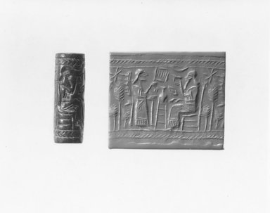 Ancient Near Eastern. <em>Cylinder Seal</em>, 9th century B.C.E. Stone, 1 5/8 x Diam. 9/16 in. (4.1 x 1.4 cm). Brooklyn Museum, Gift of Mr. and Mrs. Carl L. Selden, 80.173.5. Creative Commons-BY (Photo: Brooklyn Museum, CUR.80.173.5_NegA_print_bw.jpg)