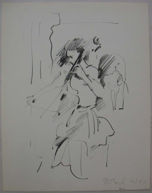 Rosemarie Beck (American, 1923-2003). <em>Cellist</em>, 1994. Lithograph, Sheet: 12 11/16 x 9 15/16 in. (32.2 x 25.3 cm). Brooklyn Museum, Anonymous gift, 80.209.1. © artist or artist's estate (Photo: Brooklyn Museum, CUR.80.209.1.jpg)