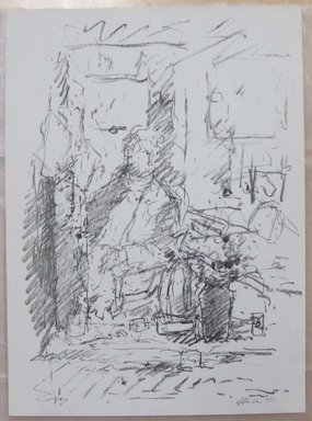 John Edward Heliker (American, 1909-2000). <em>In the Studio</em>, 1960. Lithograph, Sheet: 13 1/4 x 9 3/4 in. (33.7 x 24.8 cm). Brooklyn Museum, Anonymous gift, 80.209.49. © artist or artist's estate (Photo: Brooklyn Museum, CUR.80.209.49.jpg)