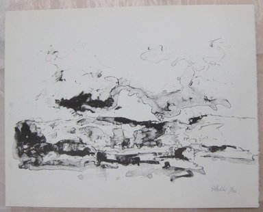 John Edward Heliker (American, 1909-2000). <em>Landscape</em>, ca. 1960. Lithograph, Sheet: 10 x 12 11/16 in. (25.4 x 32.2 cm). Brooklyn Museum, Anonymous gift, 80.209.50. © artist or artist's estate (Photo: Brooklyn Museum, CUR.80.209.50.jpg)
