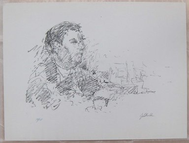 John Edward Heliker (American, 1909-2000). <em>Seated Man</em>, ca. 1963. Lithograph, Sheet: 9 15/16 x 13 1/8 in. (25.2 x 33.4 cm). Brooklyn Museum, Anonymous gift, 80.209.52. © artist or artist's estate (Photo: Brooklyn Museum, CUR.80.209.52.jpg)