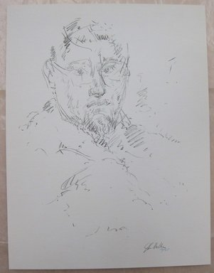 John Edward Heliker (American, 1909-2000). <em>Self Portrait</em>, 1960. Lithograph, Sheet: 12 5/8 x 9 5/8 in. (32 x 24.5 cm). Brooklyn Museum, Anonymous gift, 80.209.53. © artist or artist's estate (Photo: Brooklyn Museum, CUR.80.209.53.jpg)