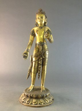 <em>Bodhisattva Manjushri</em>, 10th-11th century. Gilt copper inlaid with turquoise and coral, base: 1 1/2 in. (3.8 cm). Brooklyn Museum, Gift of Jeffrey Paley, 80.277.1. Creative Commons-BY (Photo: Brooklyn Museum, CUR.80.277.1_front.jpg)