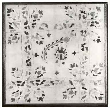 <em>Chamba Rumal</em>, ca. 1910. Cotton embroidery on cotton square, 25 1/2 x 25 1/2 in. (64.8 x 64.8 cm). Brooklyn Museum, Gift of Paul F. Walter, 80.283.1 (Photo: Brooklyn Museum, CUR.80.283.1_bw.jpg)