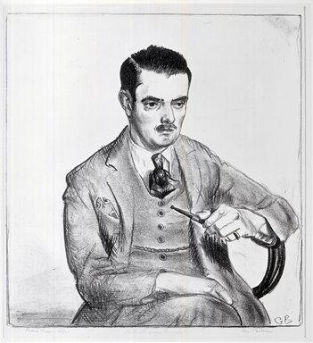 George Wesley Bellows (American, 1882-1925). <em>Portrait of Louis Bouche</em>, 1921. Lithograph on thin cream-colored wove paper, 13 1/16 x 11 9/16 in. (33.1 x 29.3 cm). Brooklyn Museum, Designated Purchase Fund, 80.56 (Photo: Brooklyn Museum, CUR.80.56_bw.jpg)