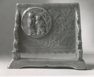 <em>Table Screen</em>, 16th century. Celadon porcelain, 6 x 7 1/4 in. (15.2 x 18.4 cm). Brooklyn Museum, Gift of Mr. and Mrs. Stanley Herzman, 80.72.17. Creative Commons-BY (Photo: Brooklyn Museum, CUR.80.72.17_bw.jpg)