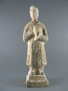 <em>Tomb Figure of a Cymbal Player</em>, 8th-9th century. Pottery, 10 x 3 in. (25.4 x 7.6 cm). Brooklyn Museum, Gift of Lucile E. Selz, 81.125.6. Creative Commons-BY (Photo: Brooklyn Museum, CUR.81.125.6_front.jpg)