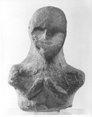 Ancient Near Eastern. <em>Head and Bust</em>, ca. 3200-2800 B.C.E. Limestone, 16 15/16 x 11 7/8 x 6 11/16 in. (43 x 30.1 x 17 cm). Brooklyn Museum, Gift of Jonathan P. Rosen, 81.181.1. Creative Commons-BY (Photo: Brooklyn Museum, CUR.81.181.1_negA_bw.jpg)
