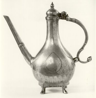 <em>Aftabeh (Ewer)</em>, 18th century. Brass, Height: 11 1/2 in. (29.2 cm). Brooklyn Museum, Gift of Dr. and Mrs. James R. Miller, 81.195. Creative Commons-BY (Photo: Brooklyn Museum, CUR.81.195_bw.jpg)