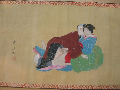Toyohiro Toyohiro (Japanese, late 19th century). <em>Amorous Couples</em>, late 18th century. Handscroll, ink and color on silk, 11 5/8 x 213 3/4 in. (29.5 x 542.9 cm). Brooklyn Museum, Gift of Dr. Jack Hentel, 81.204.1 (Photo: Brooklyn Museum, CUR.81.204.1_detail.jpg)