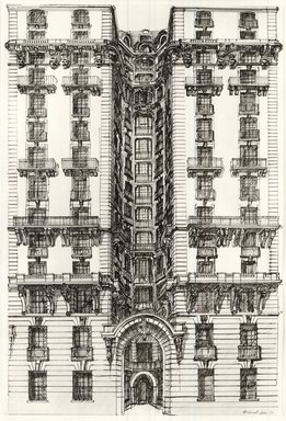 Richard Haas (American, born 1936). <em>Ansonia-Side Entrance</em>, 1970. Graphite, pen and ink on paper, 28 7/8 x 19 3/8 in. (73.3 x 49.2 cm). Brooklyn Museum, Gift of Nora and Stephen Gano, 81.259.4. © artist or artist's estate (Photo: Brooklyn Museum, CUR.81.259.4.jpg)