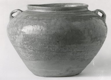 <em>Jar</em>, 3rd-4th century. Yueh ware, 5 5/8 x 8 1/2 in. (14.3 x 21.6 cm). Brooklyn Museum, Gift of Dr. John P. Lyden, 81.296.12. Creative Commons-BY (Photo: Brooklyn Museum, CUR.81.296.12_bw.jpg)
