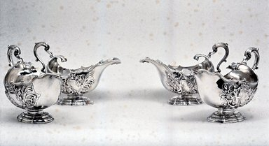 James Shruder. <em>Sauceboat, One of Set</em>, 1744-1745. Silver, 6 x 4 3/4 x 8 3/4 in. (15.2 x 12.1 x 22.2 cm). Brooklyn Museum, Bequest of Donald S. Morrison, 81.54.16. Creative Commons-BY (Photo: Brooklyn Museum, CUR.81.54.16.jpg)