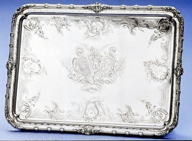 Paul de Lamerie (British, born Netherlands, 1688-1751). <em>Salver</em>, 1734-1735. Silver, 1 1/4 x 9 5/8 x 9 5/8 in. (3.2 x 24.4 x 24.4 cm). Brooklyn Museum, Bequest of Donald S. Morrison, 81.54.48. Creative Commons-BY (Photo: Brooklyn Museum, CUR.81.54.48_view1.jpg)