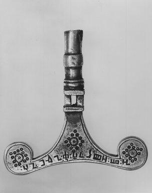 Amhara. <em>Prayer Stick Finial</em>, early 20th century?. Silver, 3 7/8 x 4 in. (10.0 x 10.2 cm). Brooklyn Museum, Gift of George V. Corinaldi Jr., 82.102.3. Creative Commons-BY (Photo: Brooklyn Museum, CUR.82.102.3_print_side1_bw.jpg)