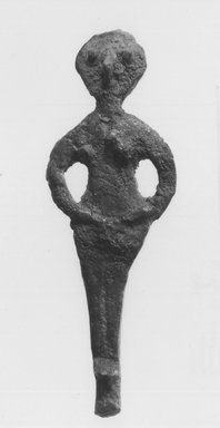 Syro-Lebanese. <em>Standing Female Figure</em>, 2000-1500 B.C.E. Bronze, plaster, 4 3/4 x 1 5/8 x 1/2 in. (12.1 x 4.2 x 1.2 cm). Brooklyn Museum, Gift of Jonathan P. Rosen, 82.116.14. Creative Commons-BY (Photo: Brooklyn Museum, CUR.82.116.14_negA_bw.jpg)