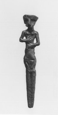 Syro-Lebanese. <em>Standing Female Figure</em>, 2000-1500 B.C.E. Copper, silver, 3 11/16 x 13/16 in. (9.3 x 2.1 cm) . Brooklyn Museum, Gift of Jonathan P. Rosen, 82.116.16. Creative Commons-BY (Photo: Brooklyn Museum, CUR.82.116.16_negA_bw.jpg)