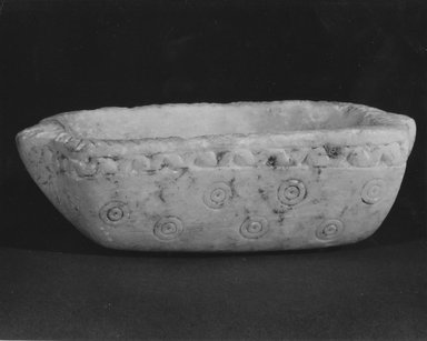 Sumerian. <em>Bowl</em>, 3rd millennium B.C.E. Calcite, 1 7/16 x 4 13/16 in. (3.7 x 12.2 cm). Brooklyn Museum, Gift of Jonathan P. Rosen, 82.116.22. Creative Commons-BY (Photo: Brooklyn Museum, CUR.82.116.22_negA_bw.jpg)