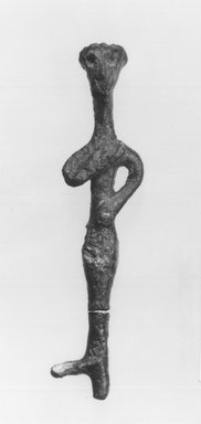 Syro-Lebanese. <em>Standing Figure</em>, 2000-1500 B.C.E. Bronze, 3 1/4 x 3/4 in. (8.2 x 1.9 cm). Brooklyn Museum, Gift of Jonathan P. Rosen, 82.116.6. Creative Commons-BY (Photo: Brooklyn Museum, CUR.82.116.6_negA_bw.jpg)