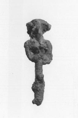 Syro-Lebanese. <em>Standing Female Figure</em>, 2000-1500 B.C.E. Bronze, 1 7/8 x 9/16 in. (4.7 x 1.4 cm). Brooklyn Museum, Gift of Jonathan P. Rosen, 82.116.7. Creative Commons-BY (Photo: Brooklyn Museum, CUR.82.116.7_negA_bw.jpg)