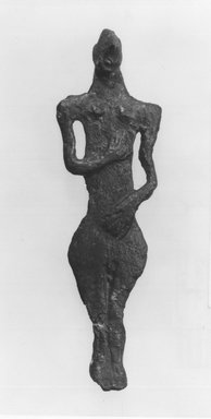 Syro-Lebanese. <em>Standing Figure</em>, 2000-1500 B.C.E. Bronze, 3 3/4 x 1 1/8 in. (9.5 x 2.8 cm). Brooklyn Museum, Gift of Jonathan P. Rosen, 82.116.9. Creative Commons-BY (Photo: Brooklyn Museum, CUR.82.116.9_negA_bw.jpg)