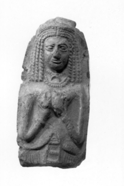 <em>Upper Part of Relief</em>, ca. 200 B.C.E. Clay, 2 15/16 x 1 7/16 x 3/4 in. (7.5 x 3.6 x 1.9 cm). Brooklyn Museum, Special Middle Eastern Art Fund, 82.117. Creative Commons-BY (Photo: , CUR.82.117_NegA_print_bw.jpg)