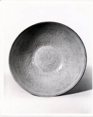 <em>Bowl</em>, 1127-1279. Porcelain with qingbai glaze., 2 1/8 x 7 1/4 in. (5.4 x 18.4 cm). Brooklyn Museum, Gift of Martin Greenfield, 82.119.4. Creative Commons-BY (Photo: Brooklyn Museum, CUR.82.119.4_bw.jpg)