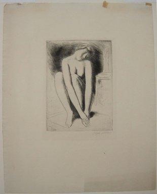 Kenneth Hayes Miller (American, 1876-1954). <em>Woman Seated on Rug</em>, n.d. Etching on paper, 19 5/16 x 14 1/4 in. (49 x 36.2 cm). Brooklyn Museum, Gift of Bernice and Robert Dickes, 82.142.1 (Photo: Brooklyn Museum, CUR.82.142.1.jpg)