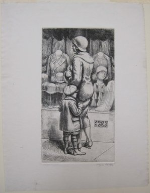 Kenneth Hayes Miller (American, 1876-1954). <em>Pause by a Window</em>, ca. 1930. Etching on paper, sheet: 12 7/8 x 9 7/8 in. (32.7 x 25.1 cm). Brooklyn Museum, Gift of Bernice and Robert Dickes, 82.142.12 (Photo: Brooklyn Museum, CUR.82.142.12.jpg)