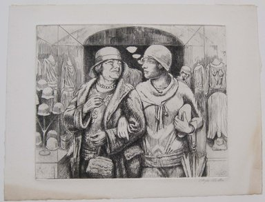 Kenneth Hayes Miller (American, 1876-1954). <em>Shoppers Leaving the Shop</em>, 1929. Etching on paper, sheet: 10 1/16 x 13 5/16 in. (25.6 x 33.8 cm). Brooklyn Museum, Gift of Bernice and Robert Dickes, 82.142.13 (Photo: Brooklyn Museum, CUR.82.142.13.jpg)