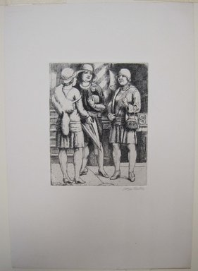 Kenneth Hayes Miller (American, 1876-1954). <em>Three Girls Meeting</em>, 1929. Etching on paper, 19 7/16 x 14 3/16 in. (49.3 x 36.1 cm). Brooklyn Museum, Gift of Bernice and Robert Dickes, 82.142.14 (Photo: Brooklyn Museum, CUR.82.142.14.jpg)