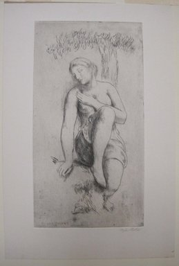 Kenneth Hayes Miller (American, 1876-1954). <em>Nymph Under a Tree</em>, 1919. Etching on paper, folder: 19 5/16 x 14 5/16 in. (49 x 36.4 cm). Brooklyn Museum, Gift of Bernice and Robert Dickes, 82.142.3 (Photo: Brooklyn Museum, CUR.82.142.3.jpg)