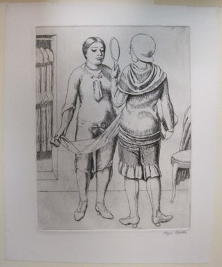 Kenneth Hayes Miller (American, 1876-1954). <em>Two Women with Mirror</em>, 1930. Etching, folder: 19 3/8 x 14 3/16 in. (49.2 x 36 cm). Brooklyn Museum, Gift of Bernice and Robert Dickes, 82.142.5 (Photo: Brooklyn Museum, CUR.82.142.5.jpg)