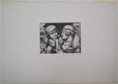 Kenneth Hayes Miller (American, 1876-1954). <em>Conversation</em>, 1934. Etching on paper, folder: 14 3/16 x 19 5/16 in. (36 x 49 cm). Brooklyn Museum, Gift of Bernice and Robert Dickes, 82.142.6 (Photo: Brooklyn Museum, CUR.82.142.6.jpg)