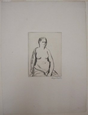 Kenneth Hayes Miller (American, 1876-1954). <em>Seated Woman</em>, 1925. Drypoint, folder: 19 5/16 x 14 3/16 in. (49 x 36.1 cm). Brooklyn Museum, Gift of Bernice and Robert Dickes, 82.142.7 (Photo: Brooklyn Museum, CUR.82.142.7.jpg)