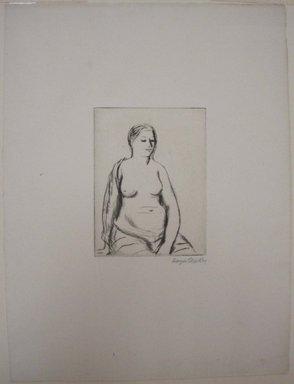 Kenneth Hayes Miller (American, 1876-1954). <em>Seated Woman</em>, 1925. Drypoint, folder: 19 5/16 x 14 3/16 in. (49 x 36.1 cm). Brooklyn Museum, Gift of Bernice and Robert Dickes, 82.142.7 (Photo: Brooklyn Museum, CUR.82.142.7.jpg)