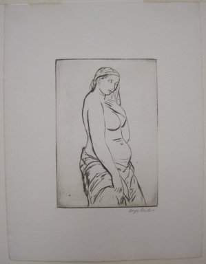 Kenneth Hayes Miller (American, 1876-1954). <em>Pause</em>, 1925. Drypoint on paper, folder: 19 3/8 x 14 in. (49.2 x 35.6 cm). Brooklyn Museum, Gift of Bernice and Robert Dickes, 82.142.8 (Photo: Brooklyn Museum, CUR.82.142.8.jpg)