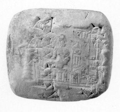 <em>Cuneiform Tablet with Seal Impression</em>, ca. 2100 B.C.E. Terracotta, 1 9/16 x 9/16 x 1 3/4 in. (3.9 x 1.5 x 4.4 cm). Brooklyn Museum, Gift of Samuel A. Rifkin, 82.169.2. Creative Commons-BY (Photo: Brooklyn Museum, CUR.82.169.2_NegB_print_bw.jpg)
