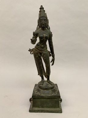 <em>Standing Parvati</em>, 12th century. Bronze, 19 1/2 in.  (49.5 cm). Brooklyn Museum, Gift of Kaywin Lehman Smith, 82.181. Creative Commons-BY (Photo: Brooklyn Museum, CUR.82.181_front.jpg)