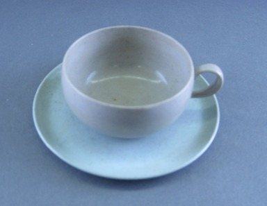 Russel Wright (American, 1904-1976). <em>Miniature Cup and Saucer, Idealware Pattern</em>, 1955-1962. Molded polyethylene plastic, saucer, height: 1/2 in. (1.3 cm). Brooklyn Museum, Gift of Paul F. Walter, 83.108.108a-b. Creative Commons-BY (Photo: Brooklyn Museum, CUR.83.108.108a-b_view2.jpg)